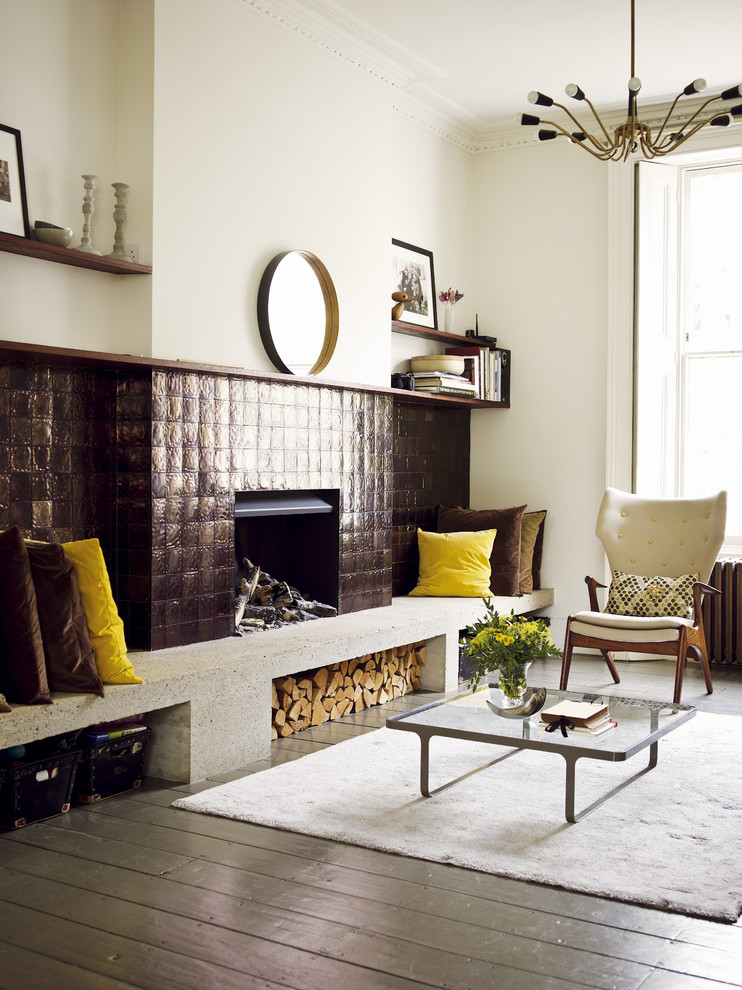 Example of a trendy living room design in London with a tile fireplace