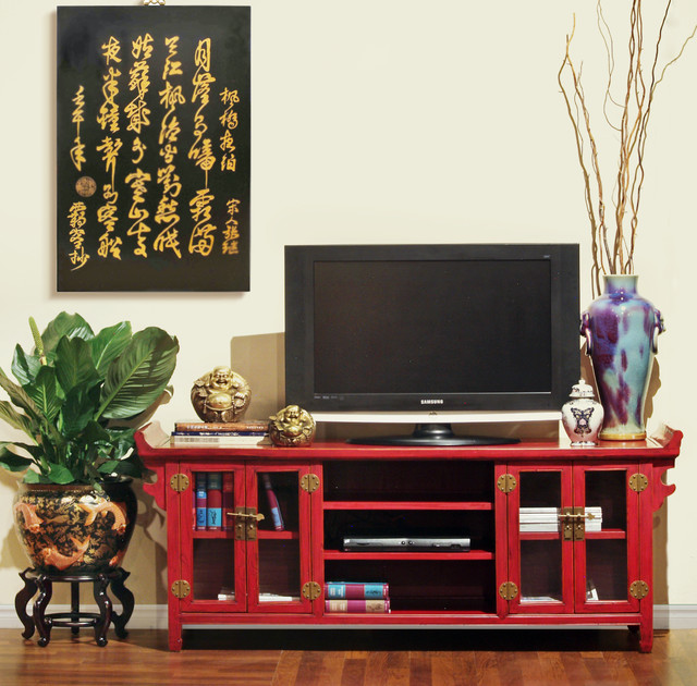 Red Altar Style Media Cabinet Asian