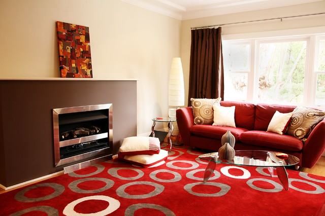 Red and brown living room contemporary living room for Modern living room red