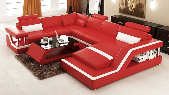 Red And White Bonded Leather Sectional Sofa With Chaise