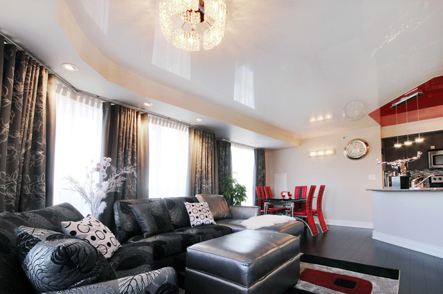 Red And White Stretched Ceilings Continue A Reflectivity