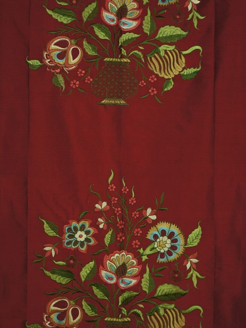 Red Custom Made Embroidered Dupioni Silk Curtains modern-living-room