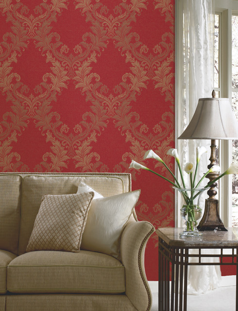 Red damask wallpaper traditional living room other for Damask wallpaper living room ideas