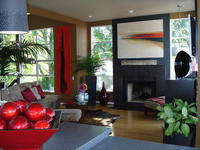 Red contemporary-living-room