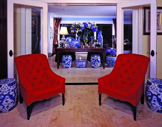 Red flair traditional living room