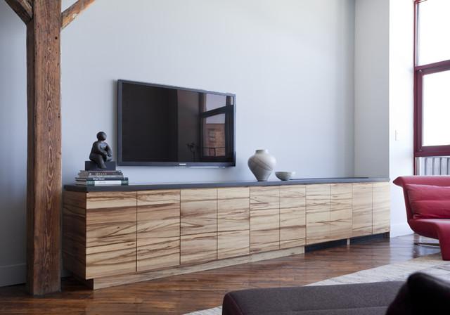 Modern Living Room Built Ins red gum built-ins