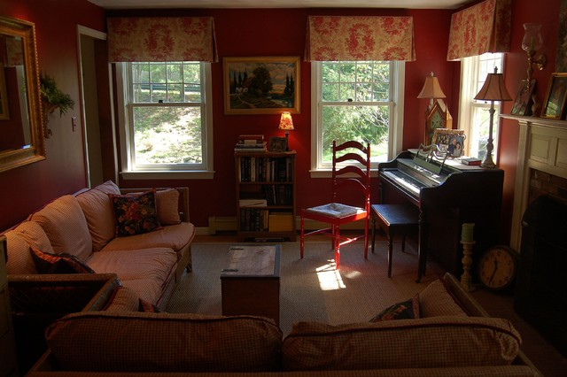 red living room with custom boxed valances slipcovers