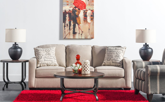 Red Rug White Sofa Living Room Transitional Living Room Los Angeles