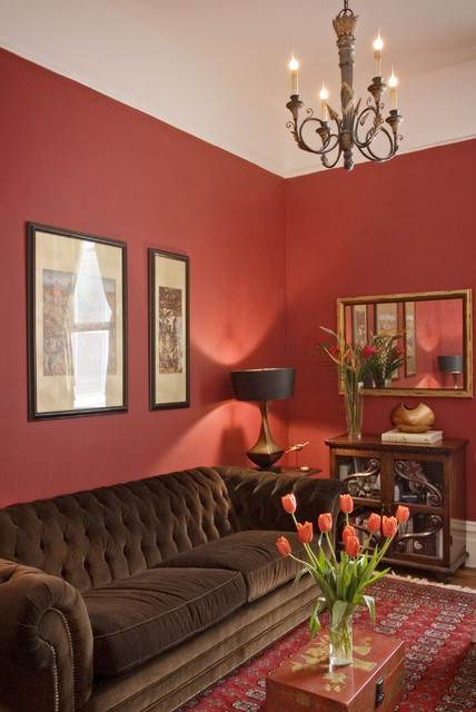 Red Study traditional-living-room