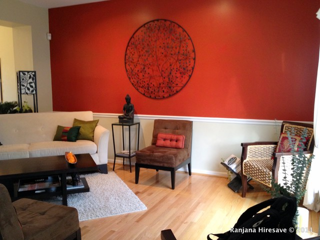 Red Wall Stylish Room Living