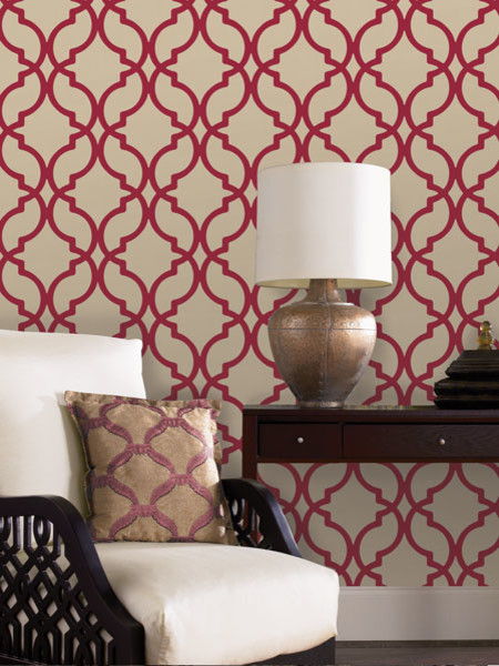Lovely Red Wallpaper Contemporary Living Room Part 12