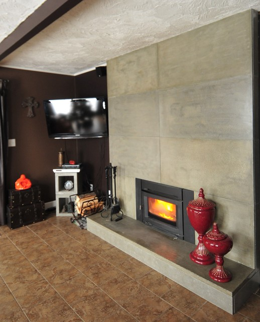 Refacing an existing fireplace surround with modern - How to reface a brick fireplace ...