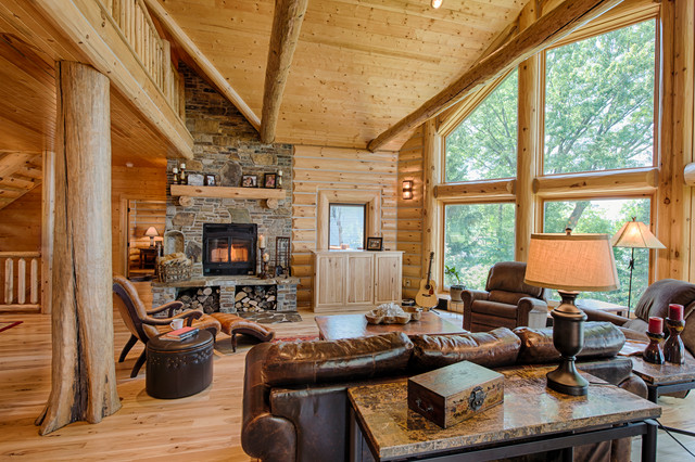Refined Log Home Rustic Living Room Other By