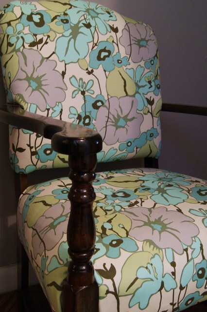 Refinished Wood Frame Chair with Floral Upholstery eclectic-living-room