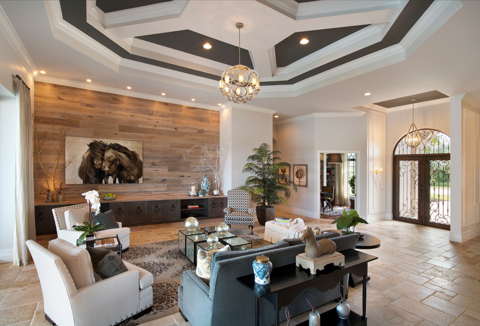 Inspiration for a contemporary open concept living room remodel in Miami with no tv