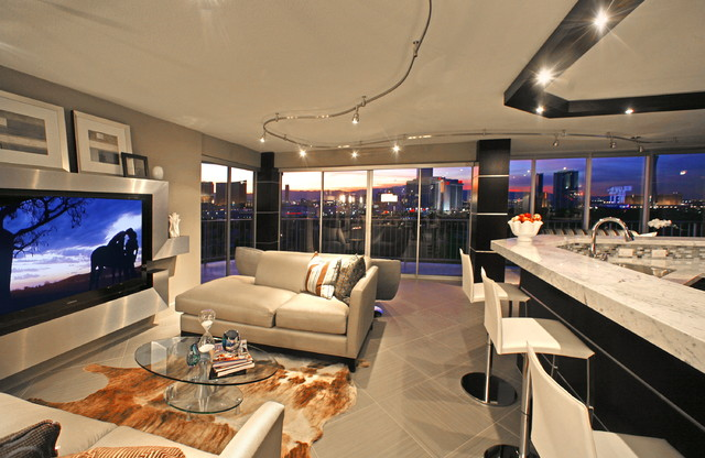 cool modern luxury penthouse living room | REGENCY TOWERS - PENTHOUSE