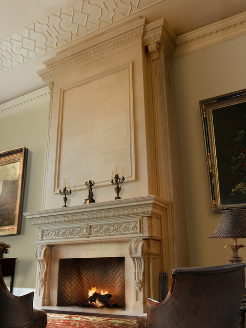 Renaissance Mantel With Large Overmantel Mediterranean