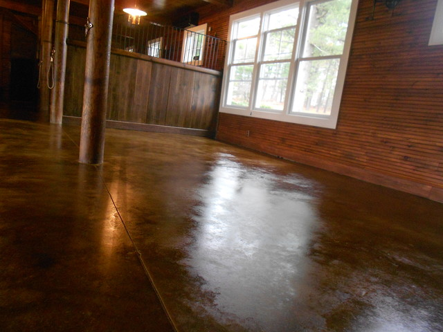 Renovated Barn Stained Floor traditional-living-room