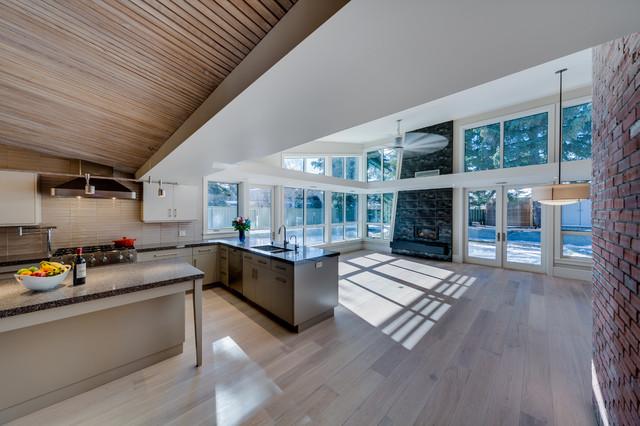 Renovation of midcentury modern home modern living room calgary