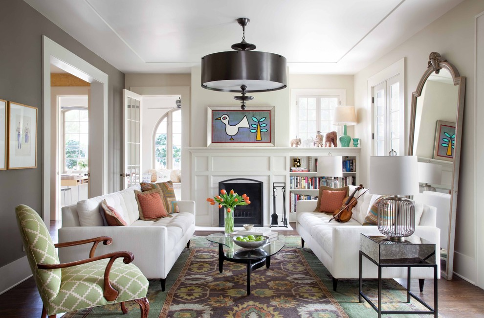 Example of a mid-sized trendy living room library design in Austin with gray walls