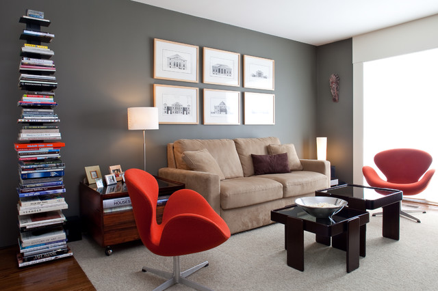Living room - contemporary living room idea in San Francisco with gray walls