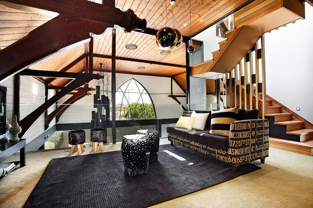 residential church conversion contemporary living room