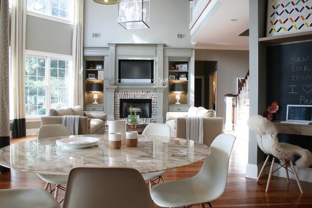 Residential design. Family room. Living Room. Kitchen traditional-living-room