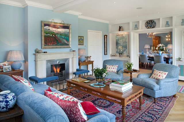 Amazing Traditional Light Wood Floor Living Room Idea In London With Blue Walls, A  Standard Fireplace Part 24
