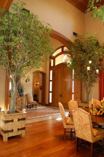 Residential Steel Art Tree Installations Traditional Living Room