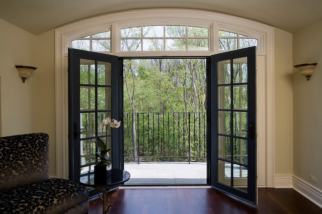 Retractabe Door Screens on Living Room French Doors traditional-living-room