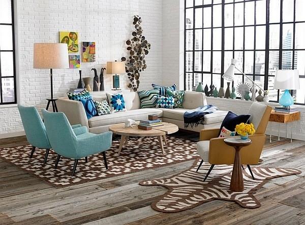 Retro s scandinavian style minimalistisch wohnbereich