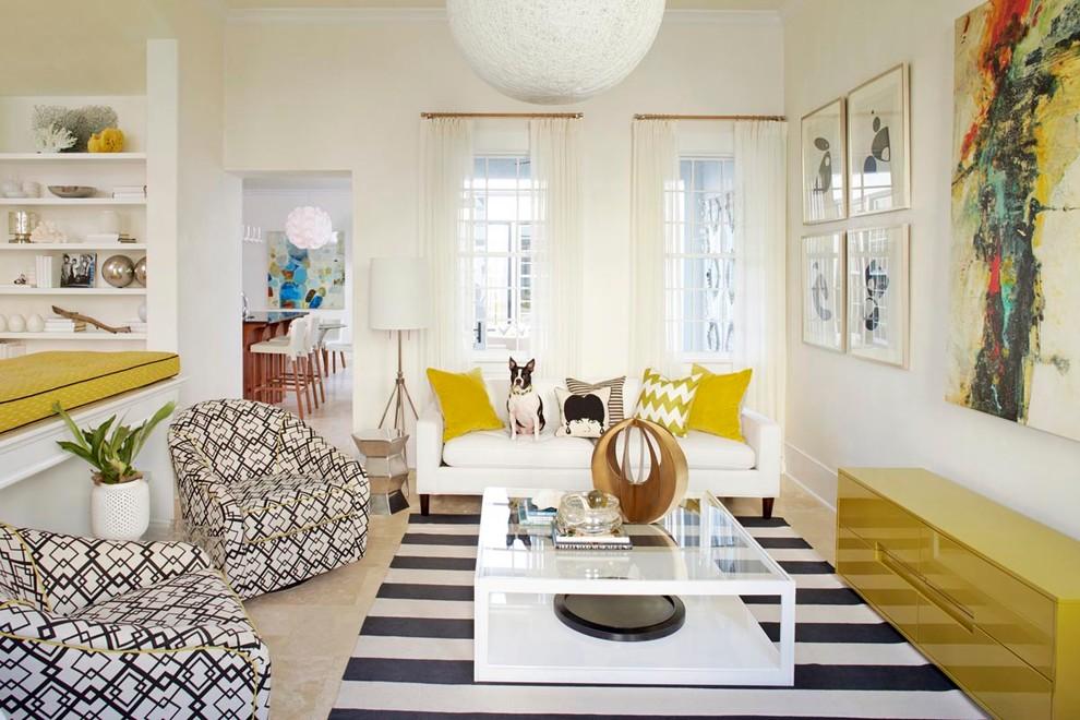 Small beach style open concept living room photo in Atlanta