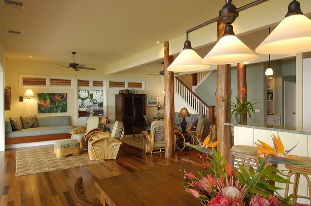 Retro hawaii beach cottage traditional living room for Traditional beach house designs