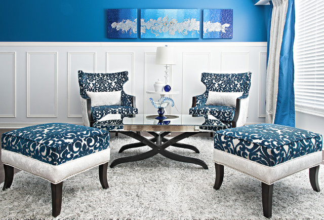Livingdining space in royal blue and white transitional living room