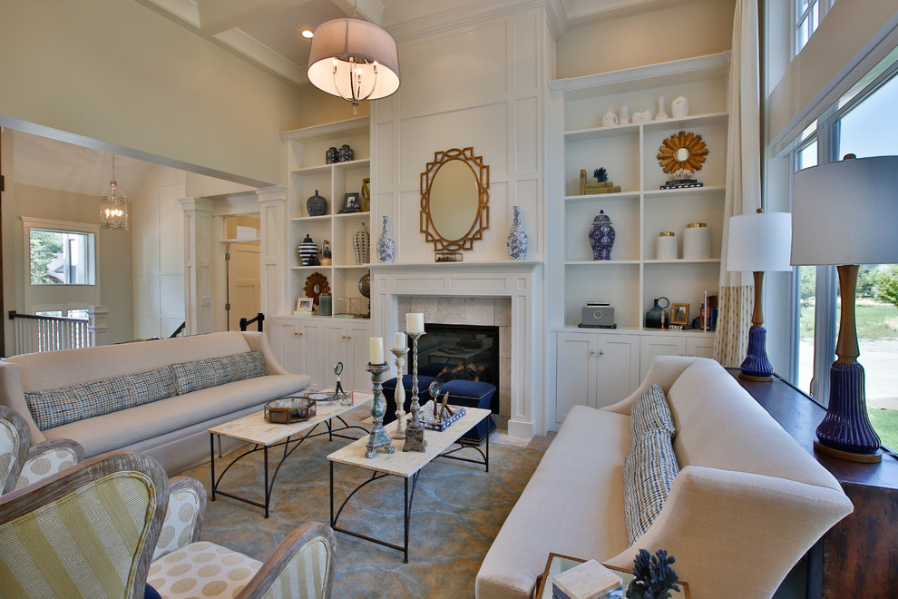 Example of a large formal and open concept carpeted living room design in Salt Lake City with white walls, a standard fireplace, a tile fireplace and no tv