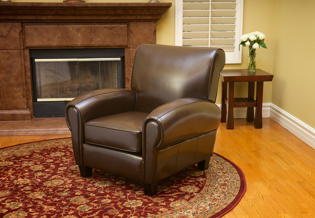 Ridgemark Chocolate Brown Leather Chair Contemporary Living Room