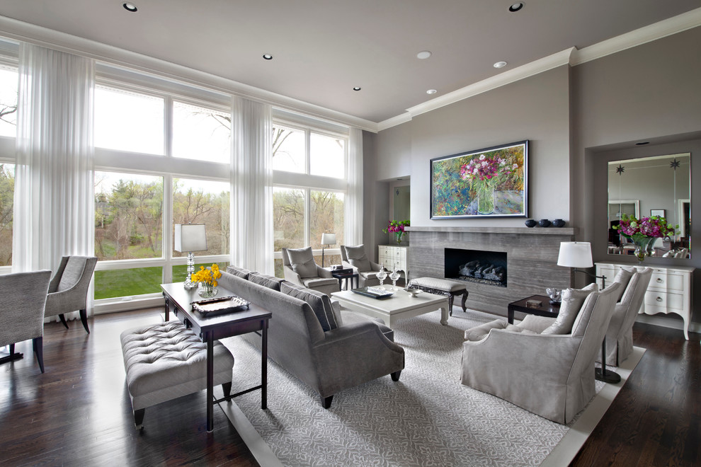 Living room - large contemporary formal and open concept dark wood floor living room idea in Detroit with gray walls, a ribbon fireplace, a stone fireplace and no tv