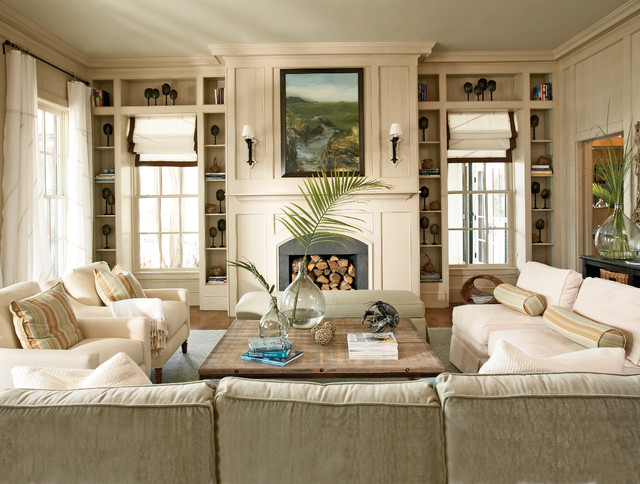Attractive Living Room   Traditional Living Room Idea In Atlanta With Beige Walls, A  Standard Fireplace
