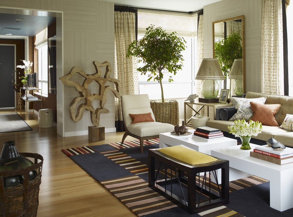 Example of an eclectic formal living room design in New York with beige walls