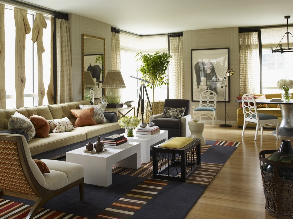 Inspiration for a large eclectic living room remodel in New York with beige walls