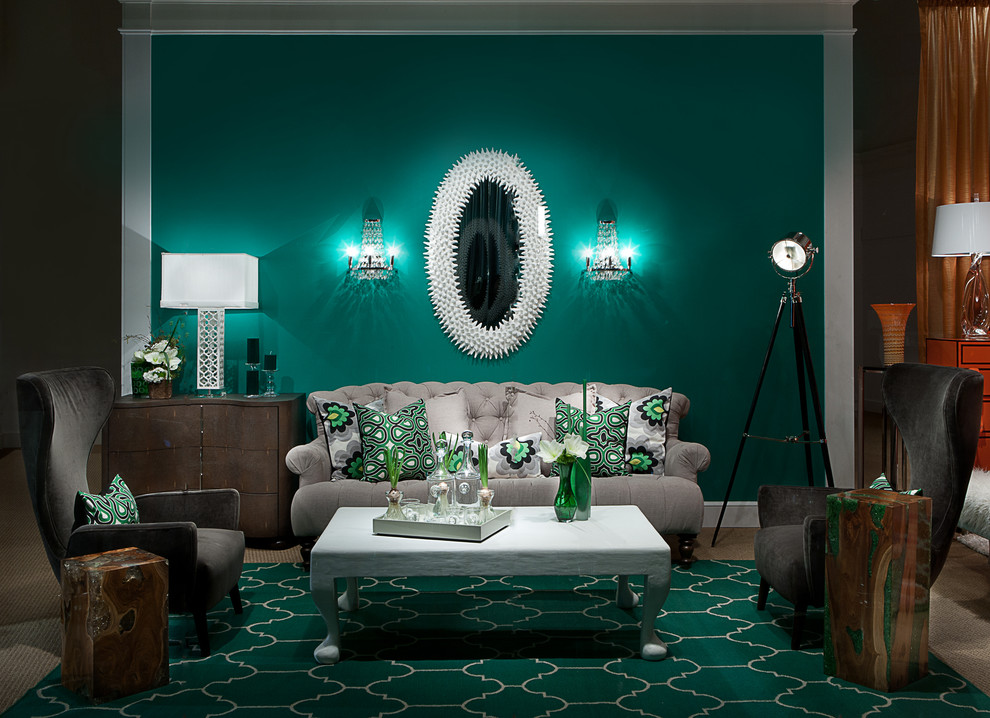 Living room - contemporary carpeted living room idea in Las Vegas with green walls