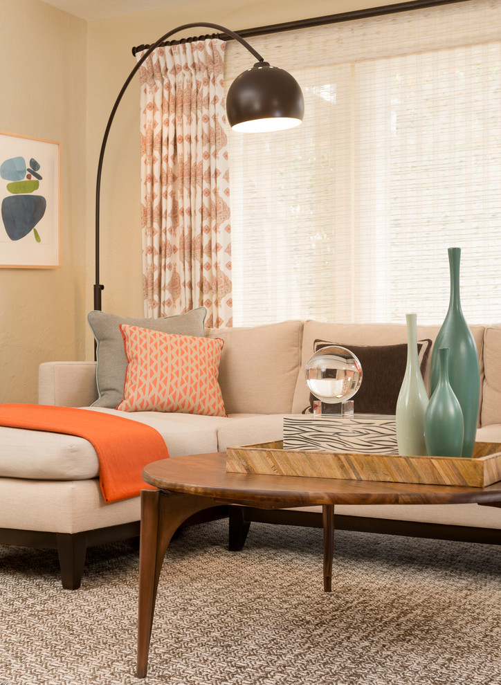 Inspiration for a mid-sized craftsman open concept carpeted living room remodel in San Francisco