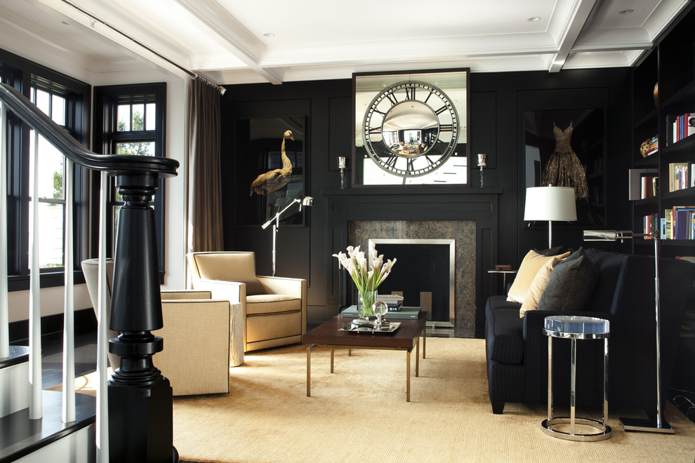 Living room library - transitional living room library idea in Boston with black walls