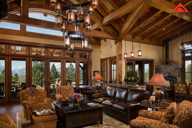 Rocky mountain log homes timber frame love rustic for Log living room