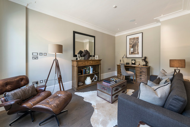 urban living room. Transitional gray floor living room idea in London Urban Living Room  Houzz