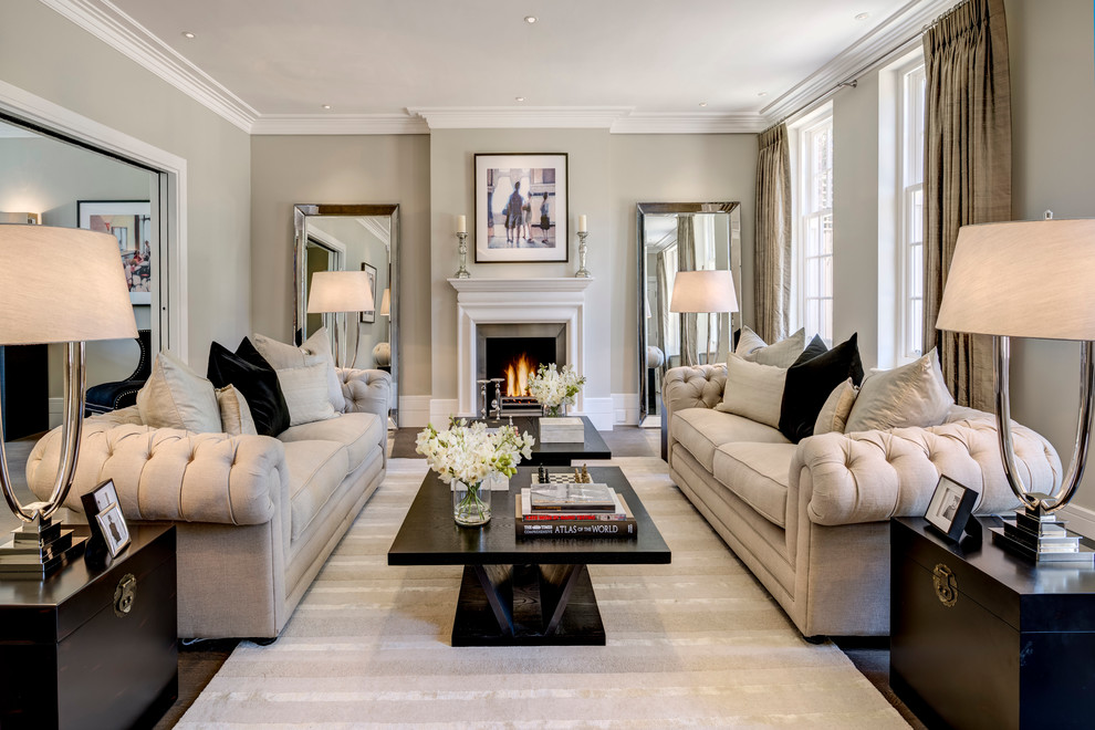 Inspiration for a transitional living room remodel in London with gray walls