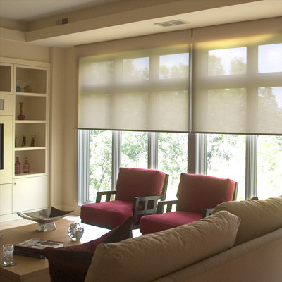 Roller blinds and shades traditional living room - Living room picture window treatments ...
