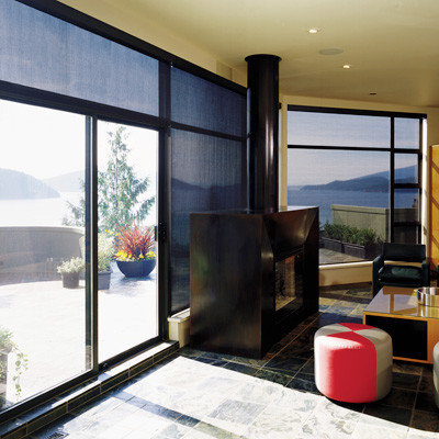 roller blinds and shades contemporary living room