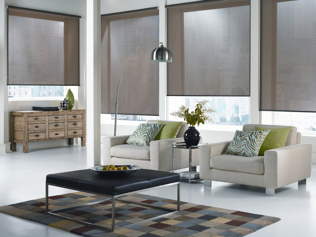 Roller Blinds Modern Living Room Montreal by CM Textiles