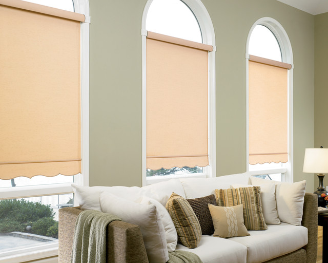 Roller Shades With Scalloped Hem Bottom Living Room Other Metro By A Blind View Llc